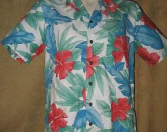 Mens Hawaiian Shirt Kennington M Reverse Print 70s 80s Vintage