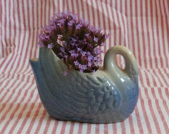 Miniature Blue Swan Vase or Planter, Vintage Decor, Powder Blue