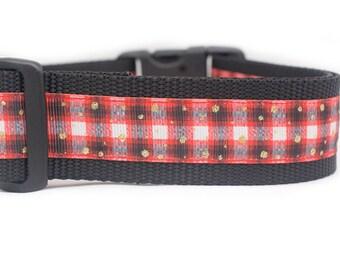 Perfectly Plaid Dog Collar - 1.5 inch wide for big dogs - buckle or martingale - buffalo plaid collar - rustic dog collar - boy dog collar