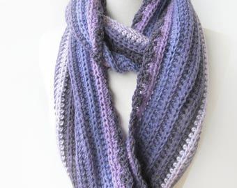 Purple Crochet Infinity Scarf - Amethyst Knit Scarves - Striped Wool Winter Scarf