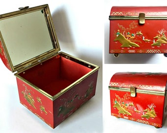 Lady Baret Ware Asian Red Box, Hinged Box with Mirror, Baretware Chinese Red Metal Box, Footed Mirror Domed Box, Lined Lady Baret Ware Box