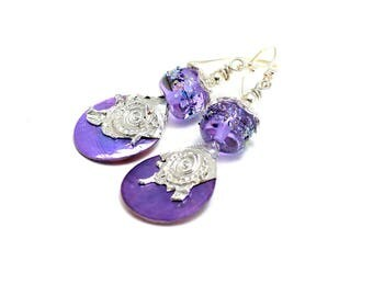 Purple Glass Bead Earrings. Artisan Tinned Headpins. Small Lightweight Dangle Earrings. Lavender Boho Gypsy Earrings. Glass Bead Jewelry.