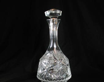 Vintage Crystal Decanter with Cut Star Design