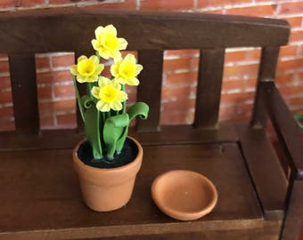 Miniature Daffodils in Clay Flower Pot with Removable Bottom Saucer, #66, Dollhouse Miniature, 1:12 Scale, Dollhouse Flowers, Mini Flowers