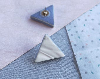 RUCHED No19 geometric triangle earrings porcelain earrings 925 sterling silver earrings white blue grey stud earrings geo earrings