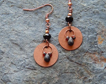 Copper disc earrings - Red and black dangle earrings - copper circle earrings - Picasso czech glass dangles - small statement earrings
