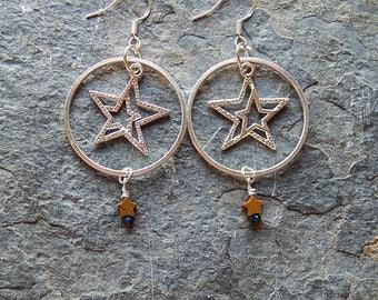 Silver star earrings - twin star hoop earrings - silver star jewelry - tiny stone dangling stars - celestial earrings - boho - brown - blue