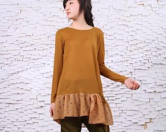 Chiffon stitching lengthened sweaters