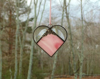 Stained glass heart suncatcher ornament, pink heart, gift of love, Valentines window decoration, beveled heart, Anniversary gift