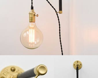 wall sconce modern wood industrial pipe custom made brass copper black white plug