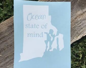 Rhode Island Car Decal ~Ocean State Of Mind ~State Car Decal ~Home State Car Decal ~Custom Car Decal~Vinyl Car Monogram~State Love Car Decal