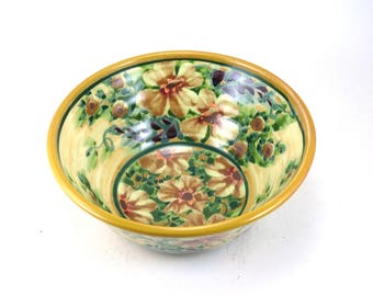 Yellow Ceramic Serving Bowl - Porcelain Dish for Fruit, Salads or Cereal -  Yellow Flowers