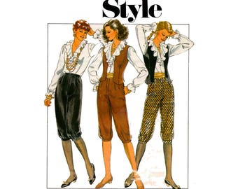 Style 3562 Womens Waistcoat Steampunk Blouse & Knickerbockers 1980s Vintage Sewing Pattern Size 10 Bust 32 1/2 inches