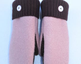 Felted Sweater Mittens // Recycled Wool Sweaters // Fleece Lined // Pink and Dark Brown