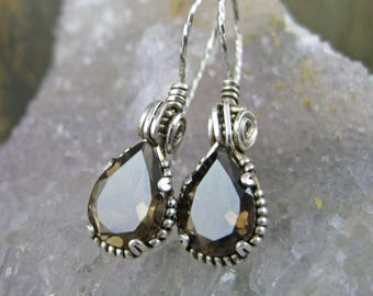 Smokey Quartz Pear Earrings - Faceted Prong Set French Hooks
