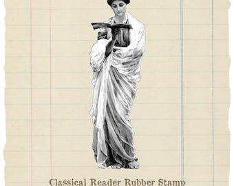 Classical Reader unmounted rubber stamp