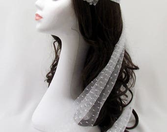 Bridal Hair Band with flower in Plumetis