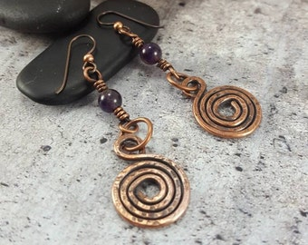 Rustic Copper Spiral Earrings. Amethyst Dangle Earrings. Tribal Stone Jewelry. Copper Earrings, Amethyst Crystal Drop Earrings Womens Gift.