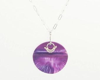 Neon Purple Aluminum and Silver Pendant by Mandy Allen