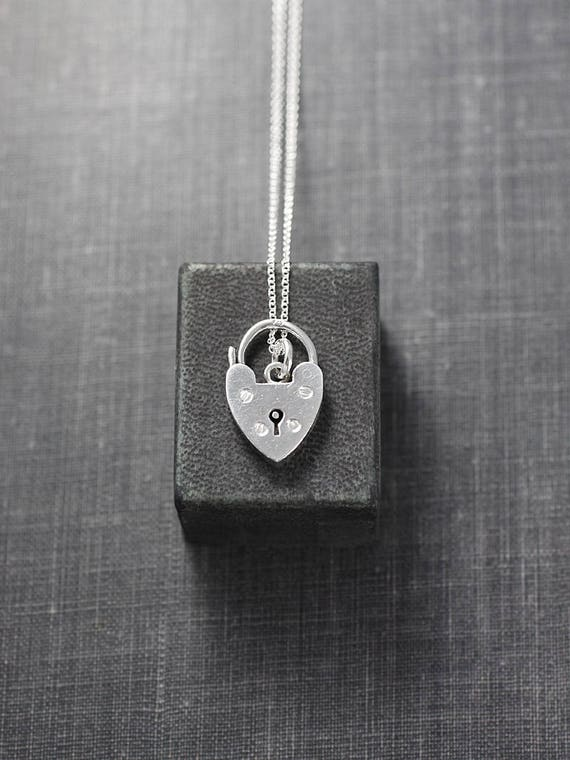 Small Sterling Silver Heart Padlock Charm Necklace, 1966 UK Hallmarked Pendant - Lets Get Together