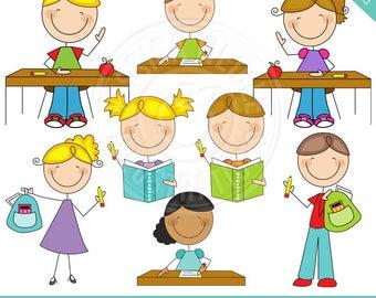 On Task Student Stick Figures Cute Digital Clipart - Classroom Stick Figures, Student Tasks, Student Rules, Cute Student Stick Figures
