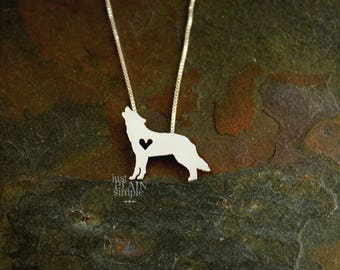 Wolf necklace, sterling silver, tiny silver hand cut pendant with heart