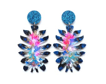 Laser Cut Earrings Glitter Acrylic Earrings Statement Earrings Flower Earrings Resin Earrings Laser Cut Jewelry Glitter Drop Earring