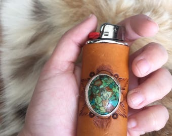 Leather Lighter Case, Lighter Case, Lighter Sleeve, Lighter Holder, Turquoise Accessories, Father D ays, Ready to Ship, Sterling Silver