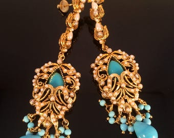 Turquoise Blue gold Victorian Earrings,Bridal Chandelier Earrings,Turkish Jewellery,Indian wedding Art deco jewelry,Royal ethnic YEC350T
