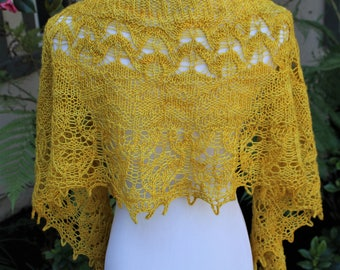 Golden Chalice Hand Knit Crescent Shaped Pure Merino Wool Lace Shawlette or Scarf