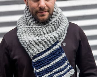Light Grey and Navy Dark Blue Long Unisex Fibonacci Sequence Hand Knit Scarf, Ready to ship