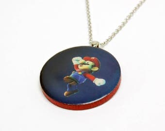 Upcycled Mario Necklace in Silver - Mario Jewelry, Mario Pendant, Super Mario Galaxy Necklace, Gamer Necklace, Upcycled Necklace, OOAK