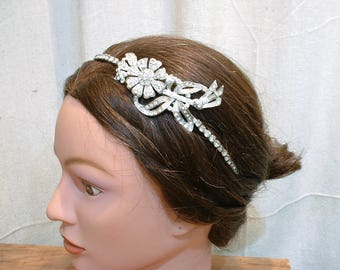 OOAK Vintage 1920s Art Deco Headpiece, Rhinestone Bridal Headband, Wedding Hairpiece, Beaded Flapper Head Band, Great Gatsby Downton Abbey