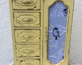 Vintage Yellow Jewelry Box Gray Fabric Bird on Branches