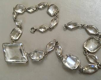 Art Deco Flapper Era Large Rock Crystal Bezel Set Faceted Emerald Cut Necklace – 1920s Jewelry