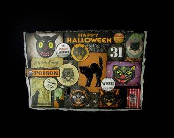 Cat Halloween Card, Halloween Card, Halloween Greeting, 130, Halloween Cat Card, Retro Halloween, Cat Greeting Card,  Halloween Note Card