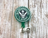 Tinkerbell Disney Coffee Lover Caffiene Addict Starbucks Logo Retractable Work ID Badge Nurse RN CNA Technician Medical Assistant