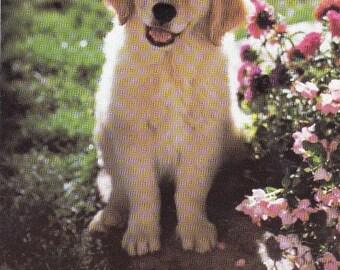 Jumbo Kids Sticker Featuring A Cute Puppy Dog with Flowers Decal Handmade Scrapbooking Puppies Golden Retriever Party Favor New