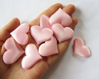 50 pcs Light Pink Heart Confetti Wedding decoration confetti padded hearts fabric hearts Heart Petals Engagement Confetti Table Decoration