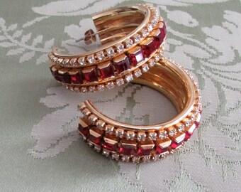 Swarovski rhinestones hoops earrings