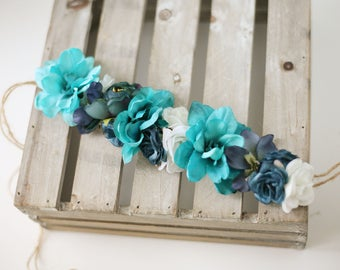 Mabry-- toddler child adult adjustable flower crown navy teal turquoise floral boho headband