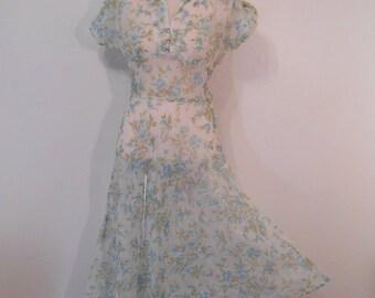 Vintage SHEER DRESS 1940's Sheer Dress Blue Gray Floral Garden Party Dress Size S Size M 1950s Sheer Nylon Dress WHISPER Sheer