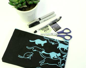 Black and Aqua Cat Stampede Screen Printed Pencil Pouch