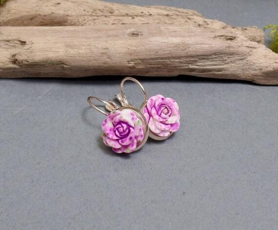 Lavender Purple Rose Earrings - Rose Earrings - Flower Earrings - Spring Floral Earrings - Rose Gold Earrings - Leverback Earrings