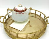 Vintage Large Round Brass Tray, Faux Bamboo, Vanity Tray, Serving ay, Hollywood Regency, Boho Style