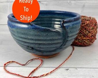 Yarn Bowl -  Large Knitting Bowl - In Stock and Ready to Ship - Ceramic Yarn Bowl  - Blue Yarn Bowl