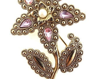 Vintage Rhinestone Flower Brooch - Large Flower Pin - Multi Colored Brooch - Gold Toned