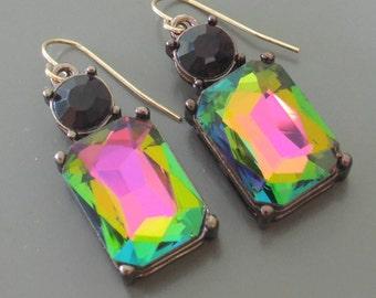 Vintage Inspired Earrings - Rainbow Earrings - Colorful Earrings - Rhinestone Earrings - Drop Earrings - Handmade Earrings