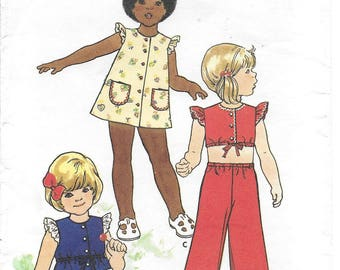 Vintage 1970s Sewing Pattern Butterick 3647 Toddlers' Dress, Top, Pants & Bloomers - Size 2T