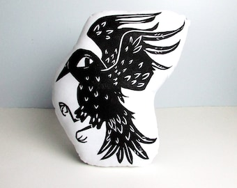 Crow Shaped Animal Pillow. Hand Woodblock Printed. Choose ANY Color. Made to Order.